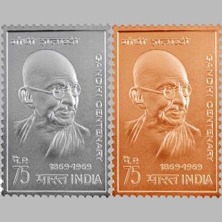 تمبر رسمی و فاخر گاندی پک 10 گرم نقره 10 گرم مس